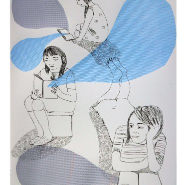 reading, drypoint with chine colle